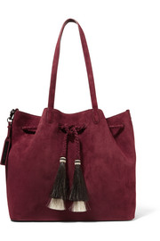 Horse hair-trimmed suede tote