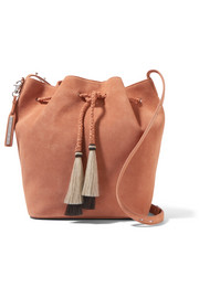 Tasseled suede bucket bag
