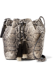 Tasseled python-effect leather bucket bag