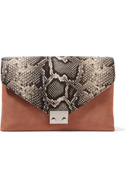 Loeffler Randall Python-effect leather and suede clutch
