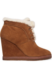 Chadwick shearling-trimmed suede wedge boots