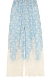 Amore In Kos lace-trimmed polka-dot linen pajama pants