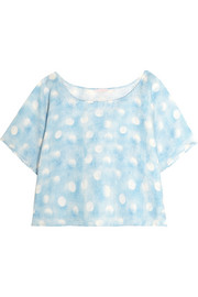 Amore In Kos polka-dot linen pajama top