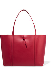 Tie leather tote