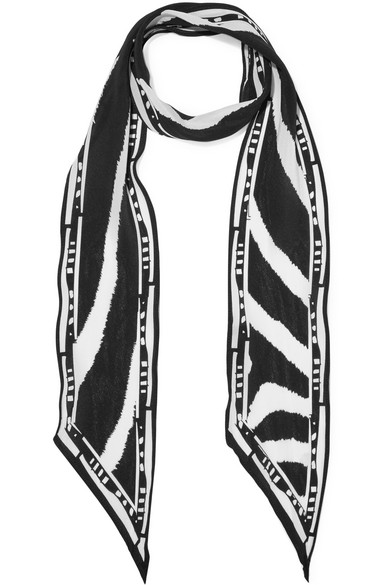 Rockins - Zebra Printed Silk Crepe De Chine Scarf - Black