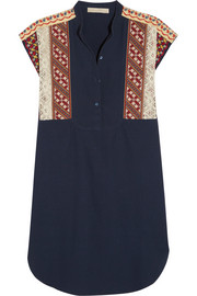 Edina embroidered cotton-piqué dress