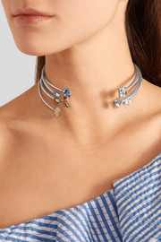 Luminus set of five oxidized silver-plated Swarovski crystal chokers