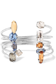 DANNIJO Asteroid set of five oxidized silver-plated Swarovski crystal cuffs