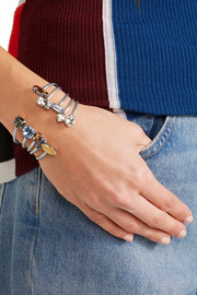 Asteroid set of five oxidized silver-plated Swarovski crystal cuffs