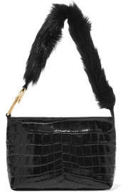 Elizabeth and James Finley faux fur-trimmed croc-effect leather shoulder bag