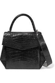 Glossed-crocodile shoulder bag