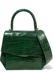 Small glossed-crocodile tote
