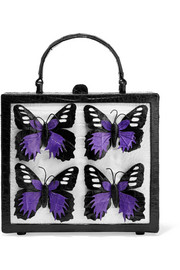 Butterfly-appliquéd glossed-crocodile tote