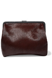 Clare V Pierlot Supreme leather-trimmed calf hair clutch