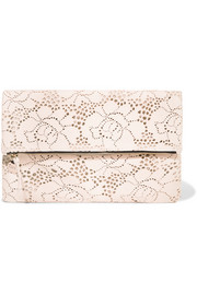 Clare V Supreme laser-cut textured-leather clutch
