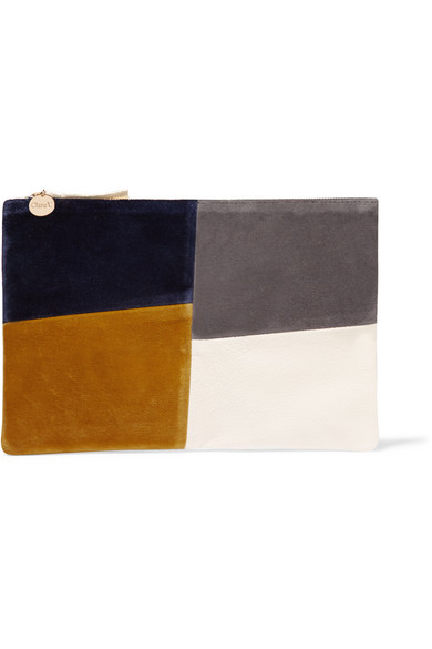 Clare V - Patchwork Velvet And Leather Clutch - Cream