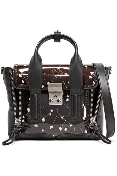3.1 Phillip Lim Woman Mini Floral-print Patent-leather Shoulder Bag Black Size 3.1 Phillip Lim eD8dFo