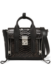 The Pashli mini matte and snake-effect leather trapeze bag