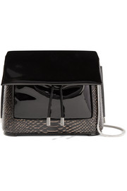 Hana patent and snake-effect leather shoulder bag