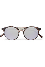 Le Specs Demo Mode round-frame tortoiseshell acetate mirrored sunglasses