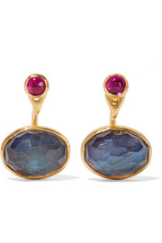 Gold-plated, labradorite and  zircon earrings