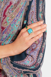 Silver, gold-plated and turquoise ring
