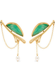 Gold-plated, chrysoprase and pearl earrings