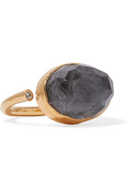 Gold-plated, labradorite and zircon ring