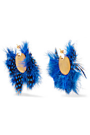 Gold-plated feather earrings