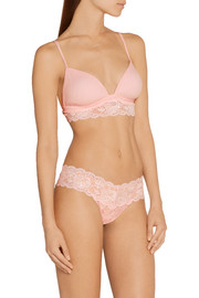 Never Say Never Soire lace-trimmed mesh soft-cup bra