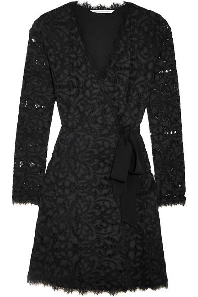 Diane von Furstenberg - Shaelyn Corded Lace Wrap Mini Dress - Navy