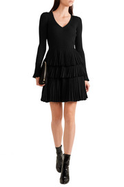 Diane von Furstenberg Sharlynn ruffled ribbed stretch-knit mini dress