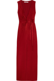 Taley pleated jersey wrap gown