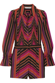 Ariella pleated printed silk and wool-blend playsuit