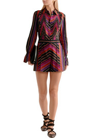 Diane von Furstenberg Ariella pleated printed silk and wool-blend playsuit