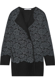 Jeraldine lace-paneled merino wool coat