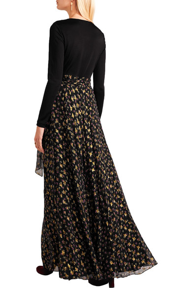 Diane von Furstenberg. Aviva printed fil coupé silk-blend and stretch-knit  wrap gown. $298.50. Play