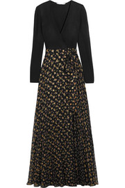 Aviva printed fil coupé silk-blend and stretch-knit wrap gown