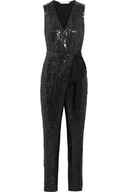 Orianna sequined silk-chiffon and satin-jersey jumpsuit