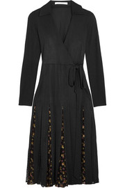 Stevie printed fil coupé and tulle-paneled silk-blend wrap dress