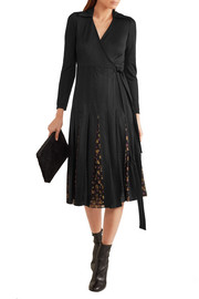 Diane von Furstenberg Stevie printed fil coupé and tulle-paneled silk-blend wrap dress