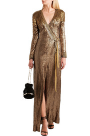 Diane von Furstenberg Ariel Armour sequined stretch-jersey wrap gown