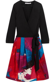 Jewel wool-jersey and printed silk-mikado wrap dress