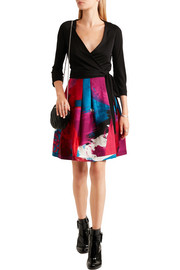Diane von Furstenberg Jewel wool-jersey and printed silk-mikado wrap dress