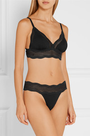 Dolce lace-trimmed stretch-jersey soft-cup bra