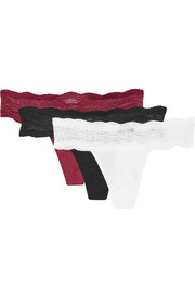 Dolce set of three lace-trimmed cotton-blend thongs