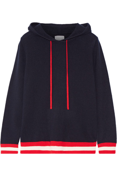 Madeleine Thompson - Dalton Hooded Striped Cashmere Sweater - Navy