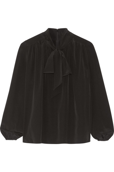 Co - Pussy-bow Silk Crepe De Chine Blouse - Black