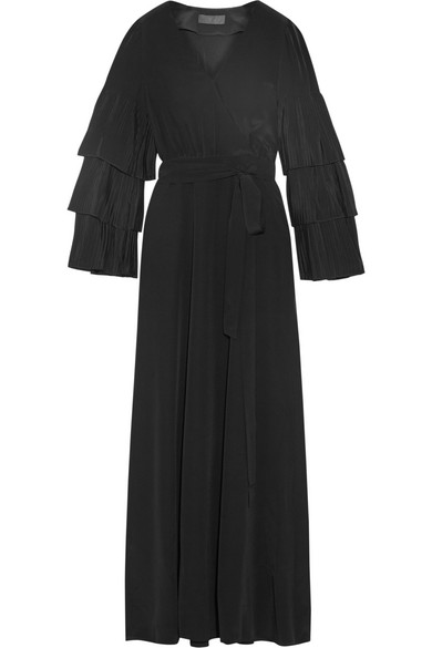 Co - Wrap-effect Pleated Silk-crepe Maxi Dress - Black