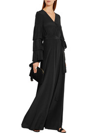 Wrap-effect pleated silk-crepe maxi dress